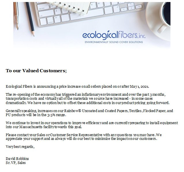 Ecological Fibers is Announcing a Price Increase on All Orders Placed